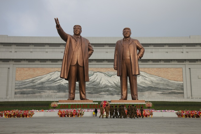 The new statues of Kim Il Sung and Kim Jung Il
