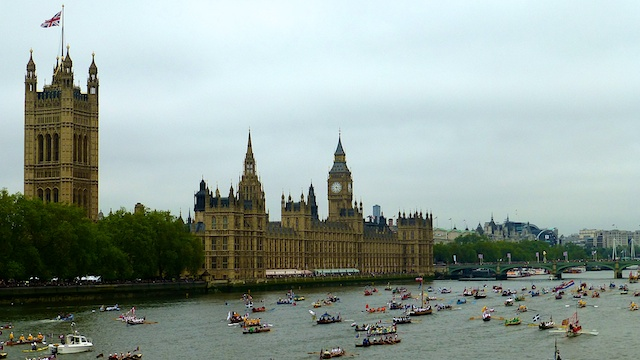 Queen Jubilee Royal pageant on the Thames